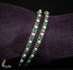 semiprecious emerald colour stones & pearl bangle handcrafted in sterling silver