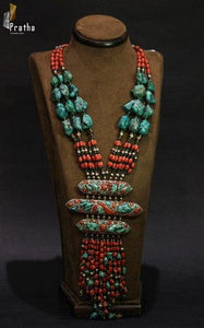 Sterling silver handcrafted afghani neckpiece with natural coral & turquoise gemstones.