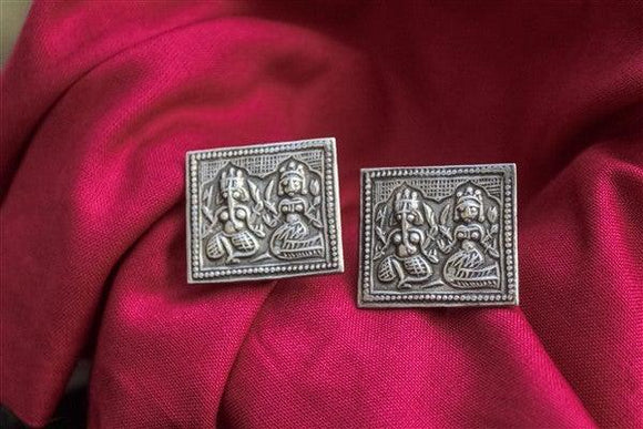 Sterling silver tribal Ganesha earrings