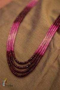 Faceted Shaded Rubies Mala