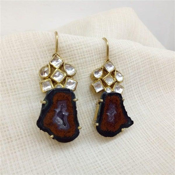 Hanging flower earring Brown Agate Stone with Kundan in Silver with Gold Polish
