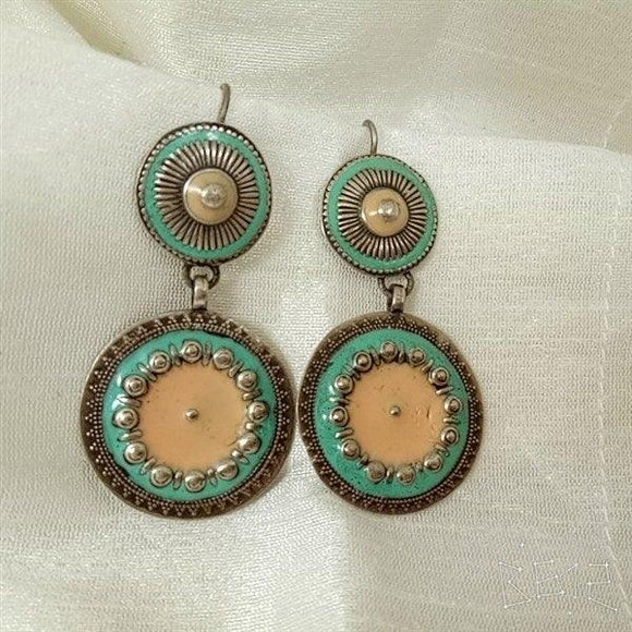 Sterling Silver handcrafted meena work in light colour earring