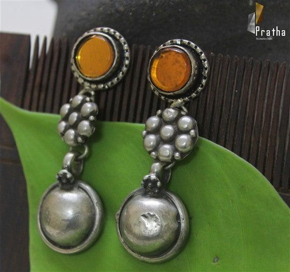 ethnic earrings handcrafted in sterling silver with yellow mirror work