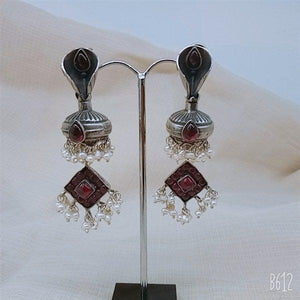 Sterling silver Red stone with pearl hanging earring