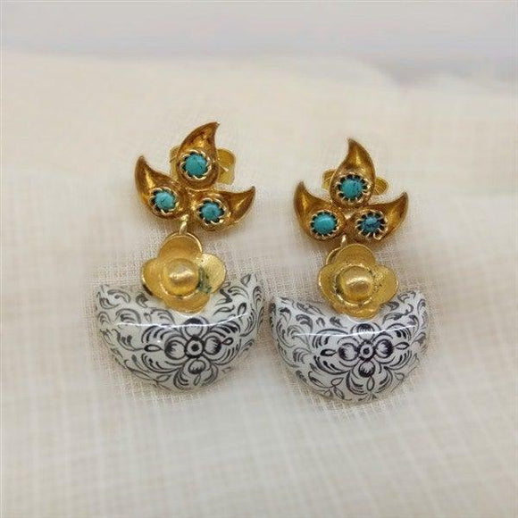 Turquoise and White Moon Shaped design stone earring in Silver with gold Polish