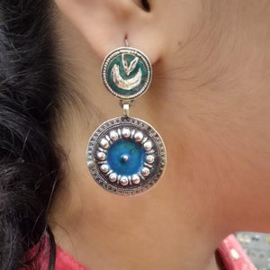 Blue Meena work hanging earring