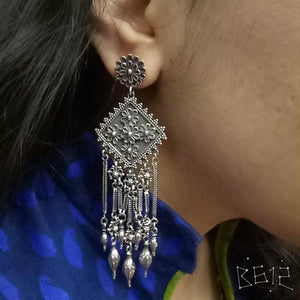 Heavy silver handcrafted long earring