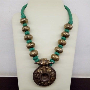 Silver Handcrafted dual tone big beads and turquoise colour colour thread ball mala - pratha-the-jewellery-studio-pune