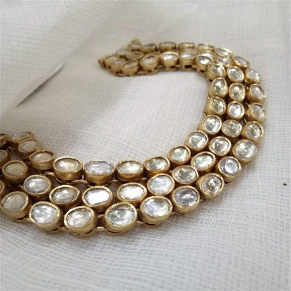 Gold Plated Kundan Three line bracelet in Silver