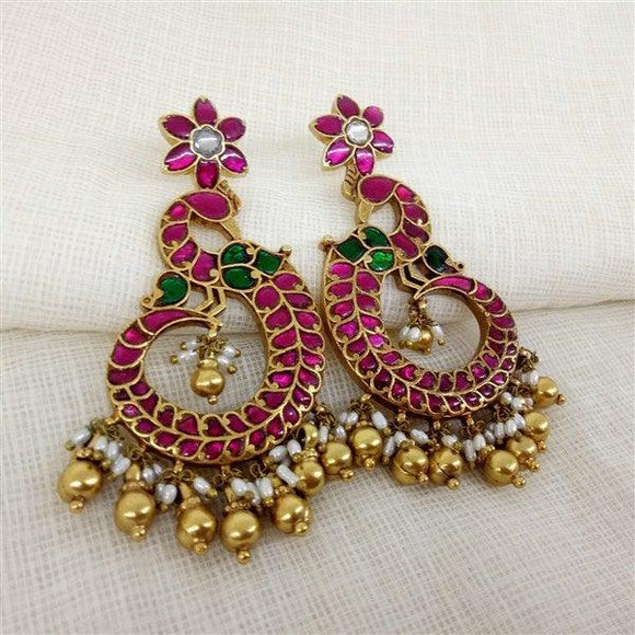 Gold Plated red & green stone peacock earrings with pearl hanging
