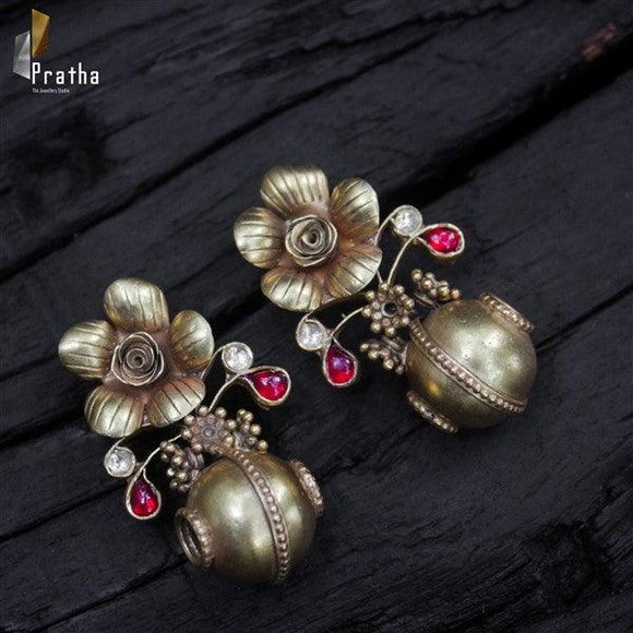 flower with a hallow drop earring handcrafted in gold plated silver  with kundan embellishments
