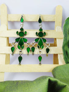 Sterling Silver Green glass work Antique Earring.