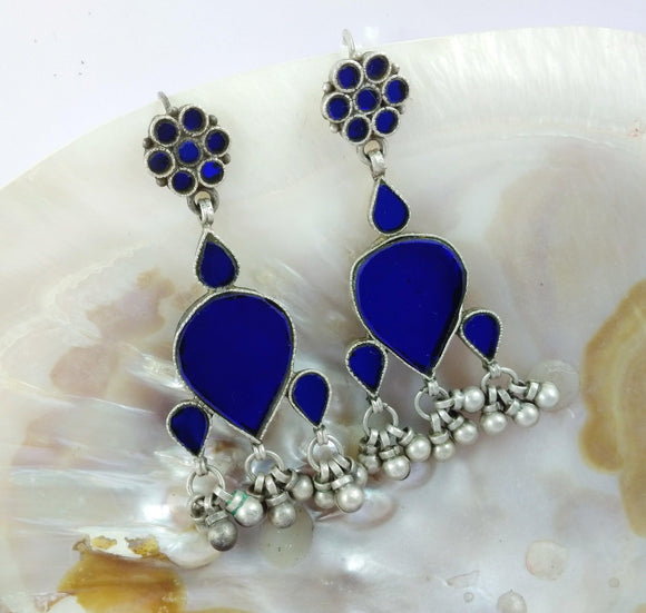Sterling Silver blue glass work Antique Earring.