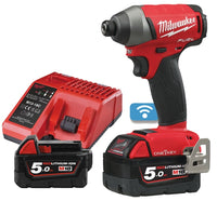 Milwaukee M18 ONEID ONE-KEY™ FUEL™ ¼˝ HEX IMPACT DRIVER (With 2 X 5Ah Batteries)