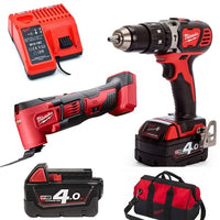 Milwaukee M18 18V Combi Drill & Multi Tool Kit WIth 2 X 4Ah Batteries (M18BPP2P-402B)