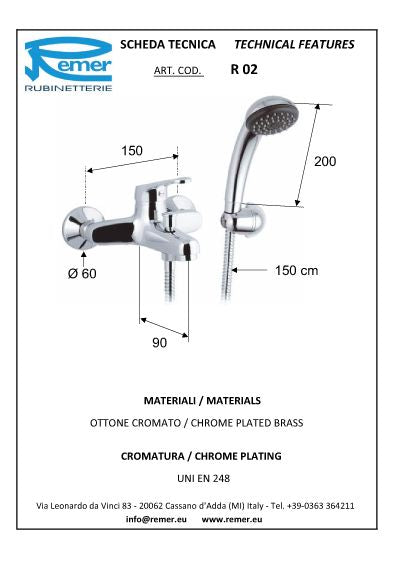 Remer Remix BathTub Mixer W. Duplex Shower (Made in Italy)