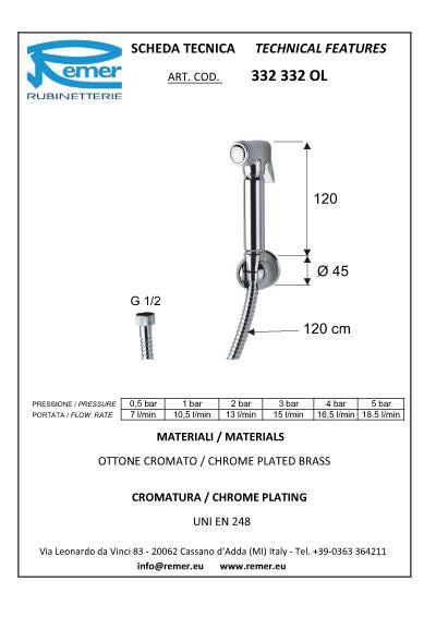 Remer Shattaf  W 332OL Handshower (Made in Italy)