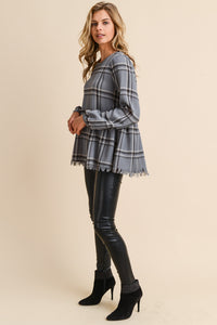 BLAIR Plaid Peplum Top