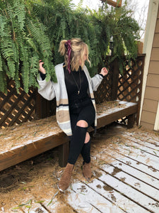 TEIGAN Oversized Striped Cardigan