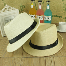 Load image into Gallery viewer, ONE SIZE ADJUSTABLE UNISEX MEN WOMEN  SUMMER BEACH TRILBY STRAW PANAMA WIDE BRIM BEACH CAP ENGLISH STYLE SUN HAT