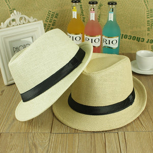 ONE SIZE ADJUSTABLE UNISEX MEN WOMEN  SUMMER BEACH TRILBY STRAW PANAMA WIDE BRIM BEACH CAP ENGLISH STYLE SUN HAT