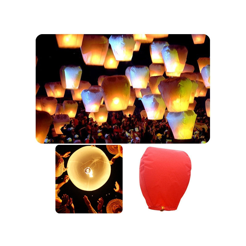 Eco-friendly Oval-shaped Sky Lantern Chinese Kongming Lantern Wishing Lamp - 10 pcs/set