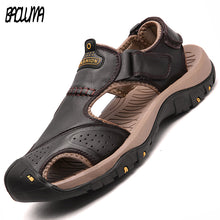 Load image into Gallery viewer, Men Sandals Genuine Split Leather Men Beach Roman Sandals Brand Men Casual Shoes Flip Flops Men Slippers Sneakers Summer Shoes