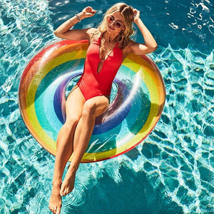 Inflatable Swimming Circle Air Mattress rainbow Float Seat Boat Tube Ring Rubber Swim Swimming Pool Toys Ring Portable accessori