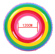 Load image into Gallery viewer, Inflatable Swimming Circle Air Mattress rainbow Float Seat Boat Tube Ring Rubber Swim Swimming Pool Toys Ring Portable accessori