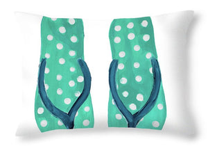 Polka Dot Flip Flops I Throw Pillow