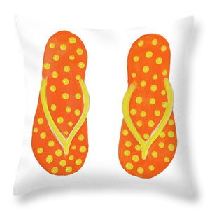 Polka Dot Flip Flops IIi Throw Pillow