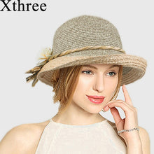 Load image into Gallery viewer, Xthree Good quality  Summer hat women Raffia straw cap Ladies Big brim Sun hat  hat forgirlbeach hat
