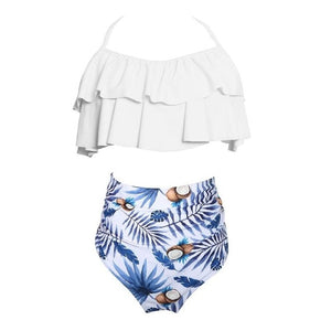 Cute Summer Sexy Bikini Set Mother Daughter Bandage Family Match Clothing Beach Sports Swimsuit Leaf Print Halter Bathing Suit