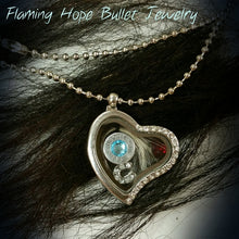"Load image into Gallery viewer, Floating Heart Locket with Bullet Casing Base and Charms on 16"" chain [product_color] - Common Connection"