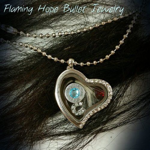 Floating Heart Locket with Bullet Casing Base and Charms on 16