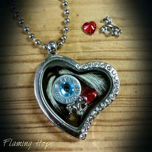 "Floating Heart Locket with Bullet Casing Base and Charms on 16"" chain [product_color] - Common Connection"
