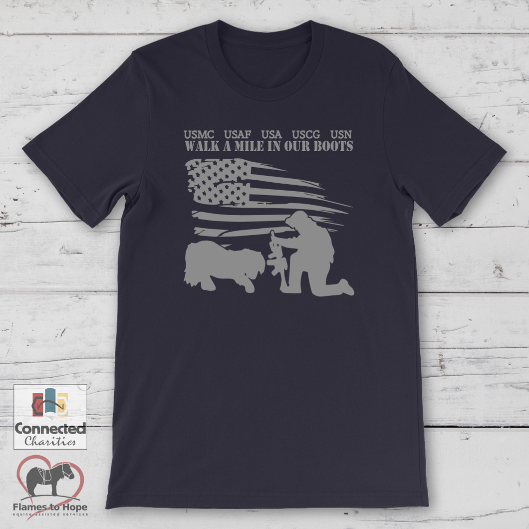 Walk A Mile In Our Boots 2019 T-shirt [product_color] - Common Connection