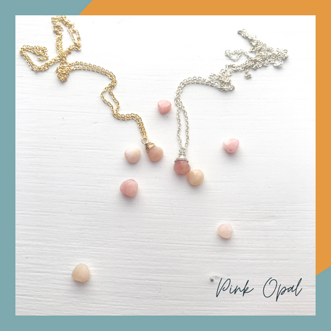 Pink Opal Birthstone Necklace