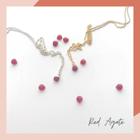 Red Agate Cancer Birthstone Necklace