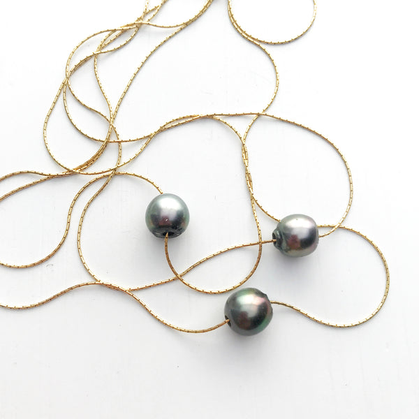 Tahitian Black Pearl Necklace-Betina Roza