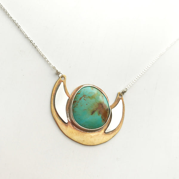 Turquoise Shield Necklace-Betina Roza