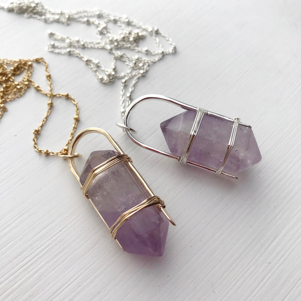 Amethyst Standing Stone Necklace-All Products-Betina Roza