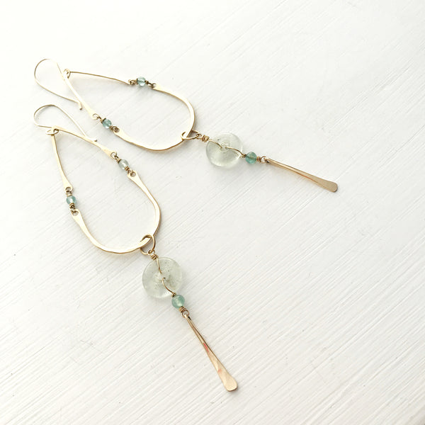 Recycled Glass and Gold Earrings-Betina Roza