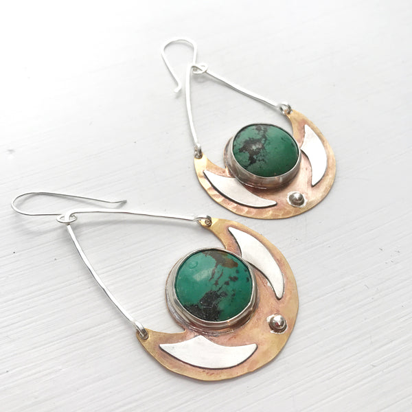 Chrysocolla Shield Earrings-Betina Roza