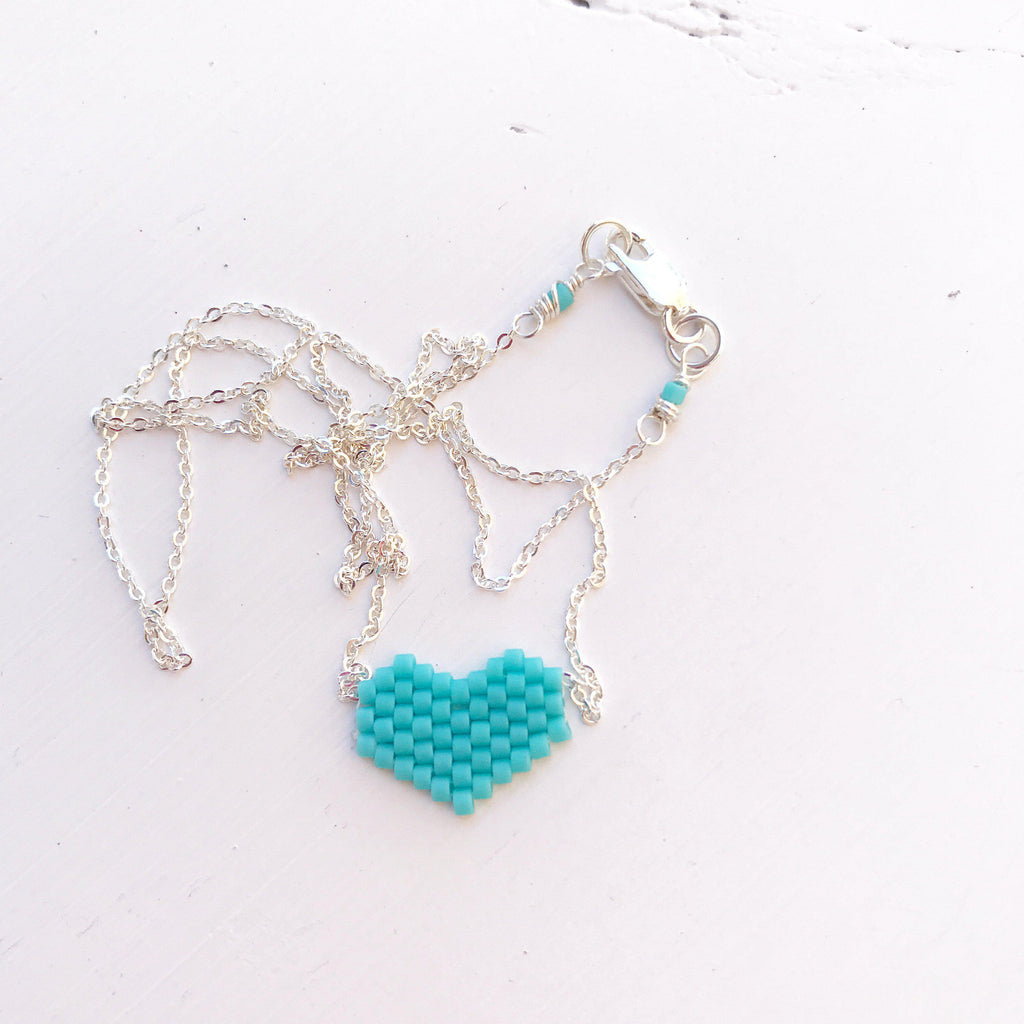 Classic Turquoise Corazon Beaded Heart Necklace-All Products-Betina Roza