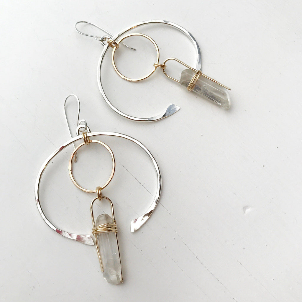 Clear Crystal Omega earrings-All Products-Betina Roza