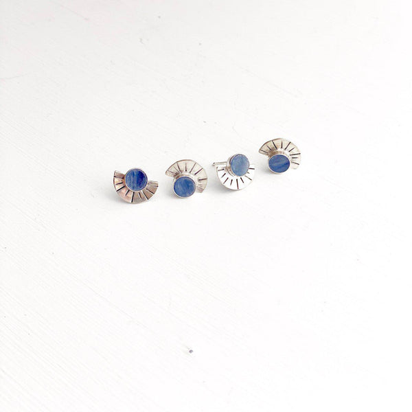Solana Mini Kyanite Silver Studs-Earrings-Betina Roza
