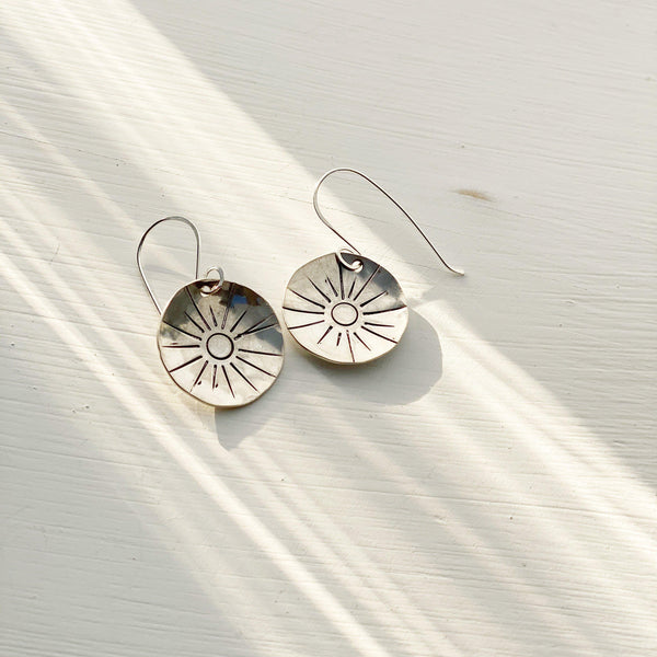 Solana Silver Medallion Earrings-Earrings-Betina Roza