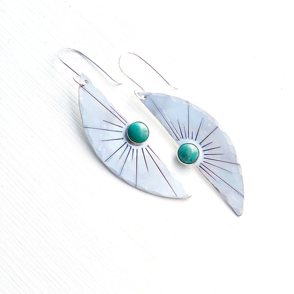 Solana Silver Sunburst Turquoise Earrings-Earrings-Betina Roza