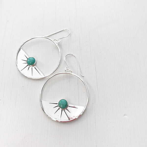 Solana Silver Sunset Turquoise Earrings-Earrings-Betina Roza